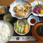 和食亭ひふみ レディースランチ(鳥唐揚げ・マグロ角切り・小鉢・サラダ・香物・御飯・味噌汁)840円