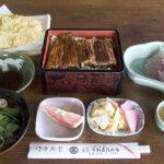 魚又 うな重 上(吸い物・新香・フルーツ付)2,500円・なまずの天ぷら 時価・鯉のあらい 420円