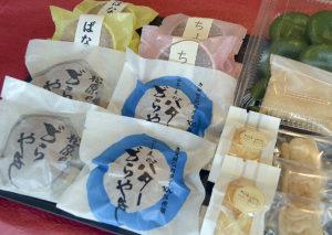 和菓子 松原の片桐 どら焼き・バターどらやき・ぐんまちゃん最中・カップケーキ(ばなな味・チョコ味)・山吹・草餅